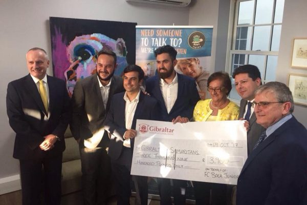 Friends of Maurice Coelho present GibSams with donation from Futsal Tournament