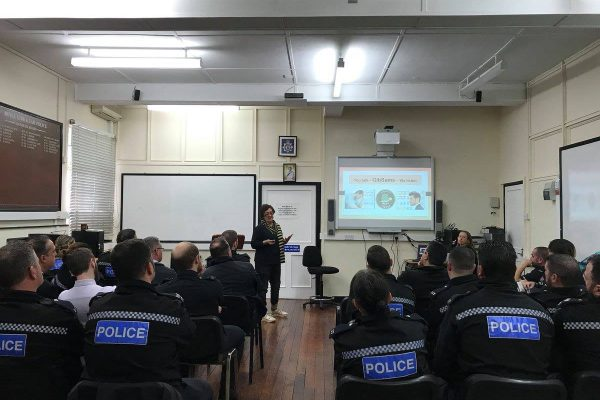 GibSams informing RGP officers on the services GibSams provide to the community.