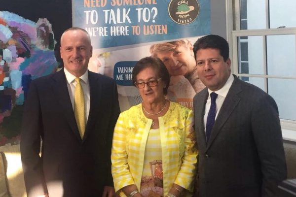 GibSams Founder, Marielou Guerrero with Patron HE the Governor and the Chief Minister Fabian Picardo
