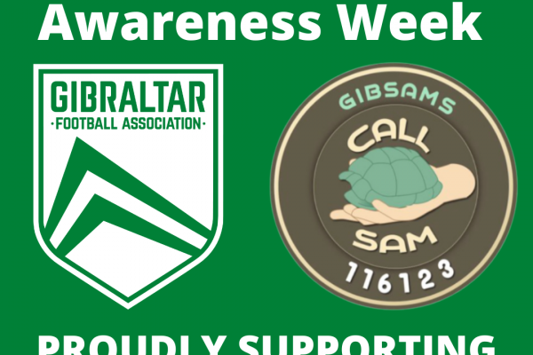 Gibraltar FA with GibSams supporting Mental Health Awareness Week